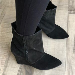 NWOT Black suede Charles David Wedge Bootie